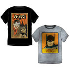Nuevo Camiseta de manga corta para hombre Top Niños Batman Negro Gris S – L XL #