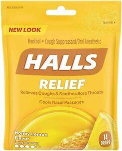 Halls Relief Menthol 14-Drops HONEY LEMON Relieves Cough Soothes Throat EXP 1/22