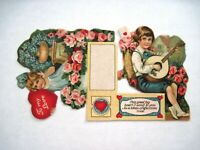 Precious Vintage Valentine Place Card w/ Sweet Boy & Girl- Pink Roses *