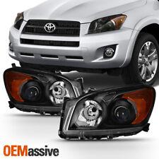 Fits 2009-2012 Toyota RAV4 RAV-4 Black Headlights Light Driver+Passenger Side