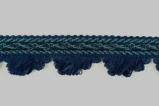 Clearance! Navy & Airforce Blue fan Edge Fringe, 3cm Wide - 25 Metres