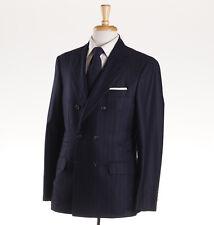 NWT $5695 BRUNELLO CUCINELLI Navy Blue Chalk Stripe Cashmere Suit 42 R