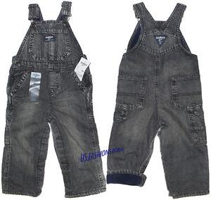 OshKosh B'gosh Latzhose Overall Kinder Jeans Grau gefüttert 100%Baumwolle