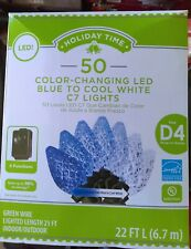 50 Holiday Time Color-Changing Diamond Cut Led Blue To White C7 Christmas Lights