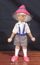 Vintage Poland Wooden Peg DOLL Boy in Lederhosen HANDMADE CLOTHES Wool Hair