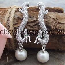 """H111310 2.2"""" White Keshi Pearl Earrings CZ Stud"""