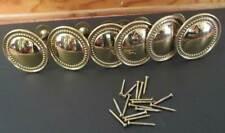 6 Vintage Cast Brass Georgian Style Beaded Ring Round Curtain Tiebacks w screws