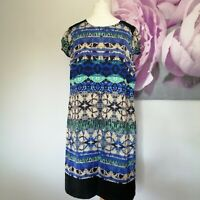 Per Una Womens Blue Multi Abstract Print Slippery Shift Dress Size 16