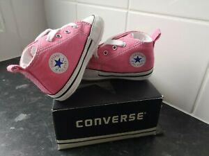 New with box Girls Converse pink baby crib Shoes Size 3 my first trainer's