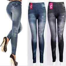 Sexy Women Denim Look Jeans Skinny Jeggings Stretchy Slim Leggings Pencil Pants