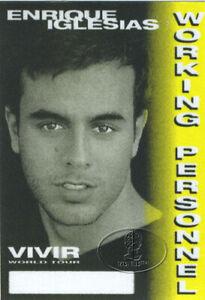 ENRIQUE IGLESIAS 1996 VIVIR TOUR Backstage Pass