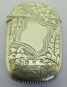 Antique Victorian Solid Sterling Silver Vesta Matchsafe Fob Bir 1899