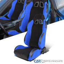 T-R Type JDM Black Blue Reclinable Driver Side Left Racing Bucket Seat w/ Slider