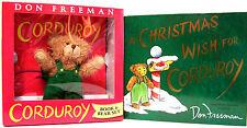 Corduroy Book and Bear Gift Set by Don Freeman & Christmas Wish For Corduroy