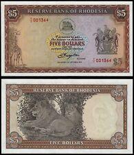 Rhodesia 5 dólares (P36br) 1978 prefijo Y/1 Reemplazo Unc