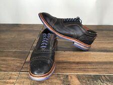 "Allen Edmonds ""Strandmok"" Cap-Toe Oxfords 9 Black/ Blue Trim N9"
