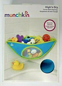 New Munchkin High N Dry Corner Bath + TOY Organizer Drying Mesh Storage Blue