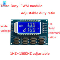 3-Channel PWM Pulse Frequency Signal Generator Duty Cycle Module LCD Display