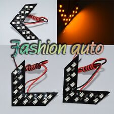 2x 14SMD Amber LED Arrow Panel Car RearView Mirror Indicator Turn Signal Light