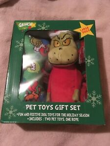 Dr. Seuss Grinch Pet Large Dog Toy Gift Set Grinch Bone & Rope Toys New In Box