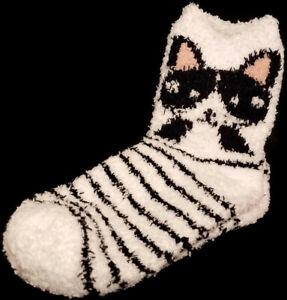 West Loop Cat Cozy Socks Soft Casual Knit Crew Women 4-10 White Black Striped