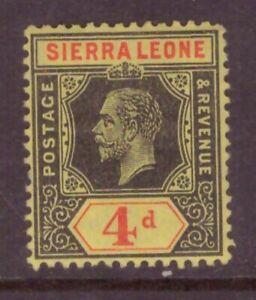 Sierra Leone  1912 King George V 4d MCA  MINT light hinge SG 117
