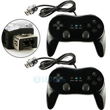 2x Pro Classic Game Controller Pad Console Joypad For Nintendo Wii Remote Black