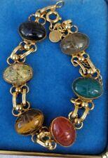 Vintage D'or 12k yellow gold carved scarab garnet onyx tiger eye link bracelet