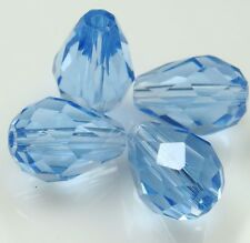 30pc 8x12mm Light blue Crystal Teardrop Gems Loose Bead