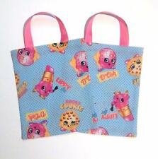 6 Shopkins Fabric Party Favor Bags Kooky Cookie, Lippy Lipstick, D'lish Donut