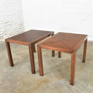 Vintage Modern Lane Parsons Style #1124-5 Walnut End or Side Tables1970 Pair w/