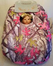 CarSeat Cover Sassy Girl White Camo Baby & Gray Fleece Custom Embroidery Infant
