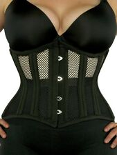 "426 Short - Authentic Black Mesh 40"" Underbust Corset Double Steel Boned"