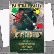 Boys Birthday Party Invitations Paintballing Paintball Activity x 12 +envs H0893