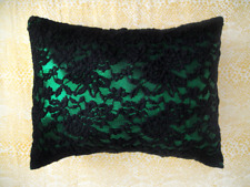 Green-black sparkling pillow with lace Ameynra home decor 15x12 Modern Style New