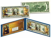 MONA LISA by Leonardo da Vinci Genuine Legal Tender Colorized U.S. $2 Bill