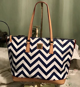 EUC Dooney Bourke Blue & White Chevron Vachetta Leather Large Shopper Tote Bag