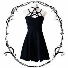 Punk Fashion Girl Gothic Lolita BLACK Original Pentagram Neck Strap Dress