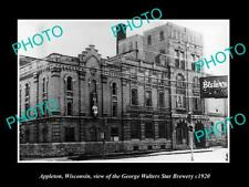 OLD 8x6 HISTORIC PHOTO OF APPLETON WISCONSIN, THE WALTERS STAR BREWERY c1920