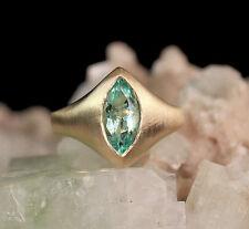 0.86 Ct 11x6 Genuine Marquise Green Emerald 14k Yellow Gold Matte Handmade Ring