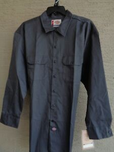 NWT Mens Dickies 3XL  L/S Cotton Blend  Basic Work Shirt with Pockets Charcoal