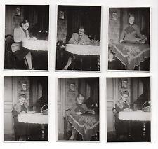Lot 6 PHOTOS Femme Assise Chaise Vice Versa Table Snapshot Vintage 1940-1950