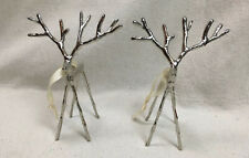 EUC Pottery Barn -Set of {2} Silver Twig Reindeer Ornaments