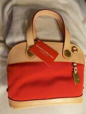 Dooney Bourke Cabriolet Red Canvas & Leather Zip Satchel Crossbody Bag USA