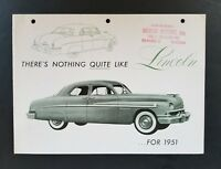 Vintage Original 1951 Lincoln Sport Sedan & Six-Passenger Coupe Sales Brochure