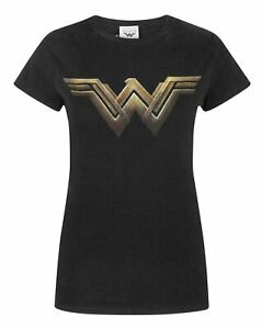 Wonder Woman T-Shirt Black Logo Women's Short Sleeve Top