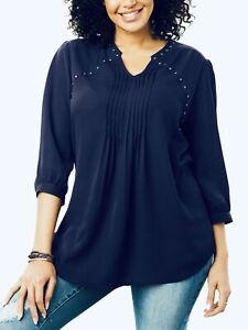 Woman Within Navy Blouse Plus Size 16-36 Studded Chiffon Shirt Tunic Top New 405