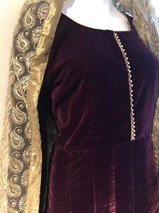 "Pakistani/Asian 3pcs Party Wedding Long Velvet Dress Dress 44"""