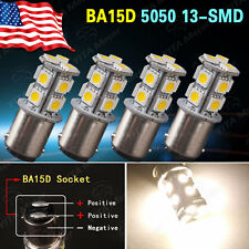 4x Warm White BA15D 1076 13-SMD 5050 Car Marine Boat Interior LED Light Bulbs