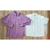 Tommy Bahama Mens Shirt Size XL Lot of 2 Linen White Purple